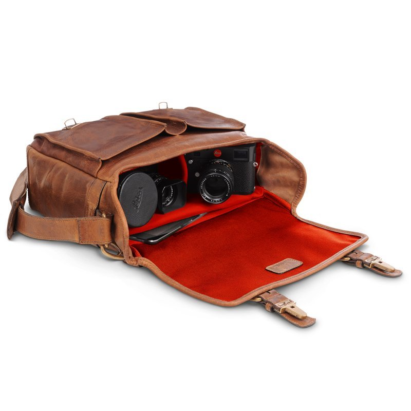 LEICA COLLECTION BY ONA, PRINCE STREET LEATHER CAMERA MESSENGER BAG - ANTIQUE COGNAC